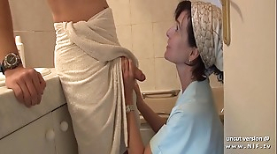 French mom seduces young stud with big dick and gets analyzed