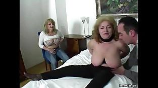 Lucky stud fucks two amazing grannies