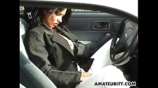 Fledgling mom with big tits sucks and fucks in her car