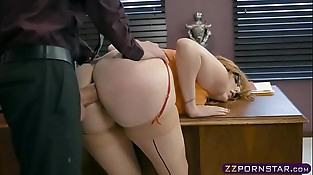 Busty office chick working on her promotion by suggesting ass fucking