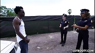 Two big booty female police officers get interracial fucked
