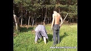 Mature Redhead Fucked By The Farm Boy Outdoors