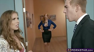 Office boss fucks his secretary and a big-titted MILF assistant