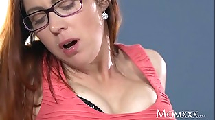 MOM Spouse caught wanking is finished off by redhead milf in stockings