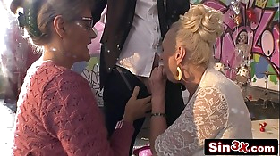Crazy Italian Talent Show XXX Fucktory - Outrageous Dual Granny Blowjob