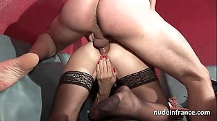 Amateur granny in undergarments hard dual penetrated and fisted