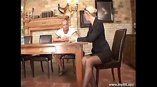 Elegant blonde german mature fucked in the nut sack and cumshoted