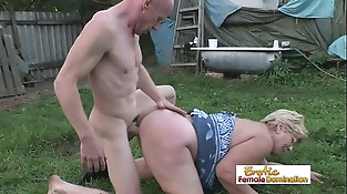 Old lady gets her beaver rammed by a nasty bald stud
