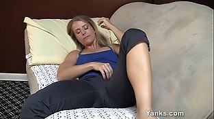 Puny Titted Skyle Finger-tickling Her Pussy