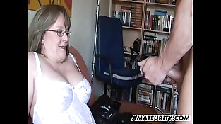 Inexperienced Mummy with big tits sucks and fucks with cum