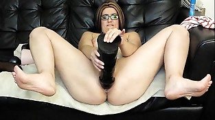 Mummy fucks pussy with huge brutal dildos