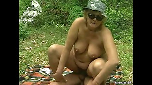 German BBW granny takes young hard-on outdoor